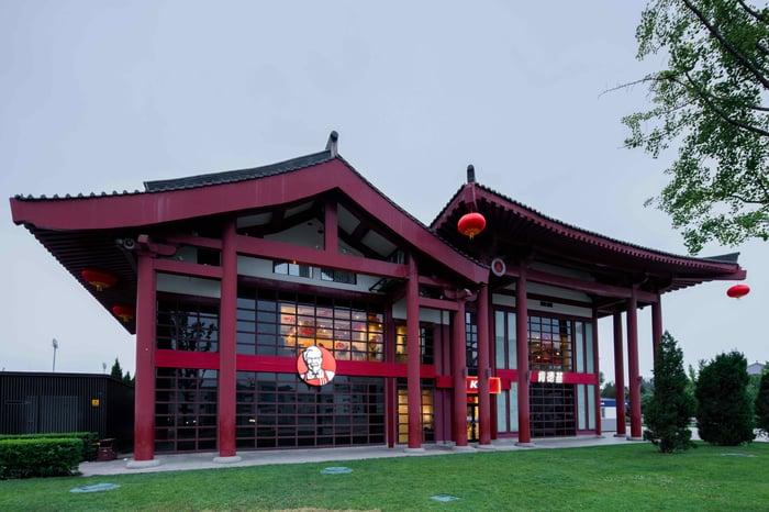 L'extérieur d'un magasin KFC en Chine, conçu avec une ligne de toit architectural chinois en pente.