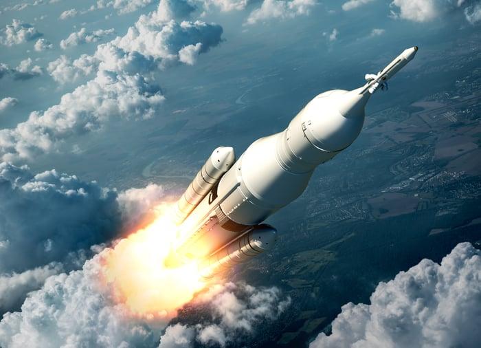 Artist's depiction of SLS taking off