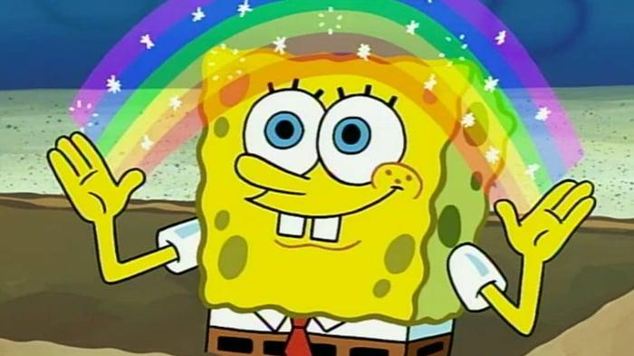 Spongebob Squarepants spreading a rainbow