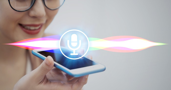 Artist's depiction of voice recognition on a smartphone.