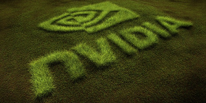 A rendering of a green lawn, mowed to form a large Nvidia logo.