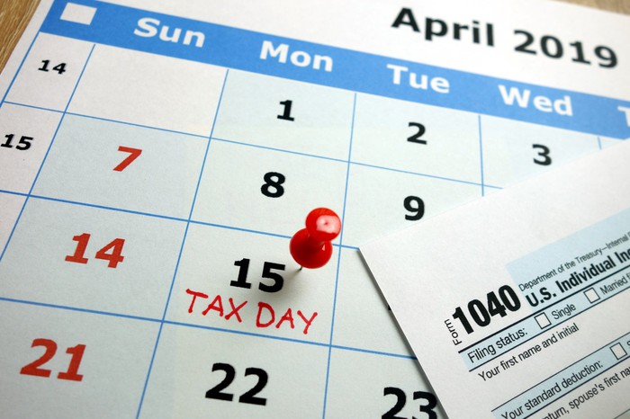Calendar with April 15, 2019 marked as tax day