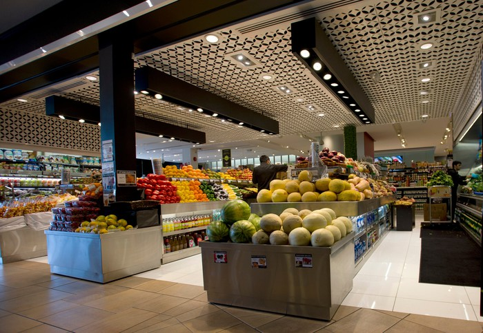 Interior view of a new upscale grocery store