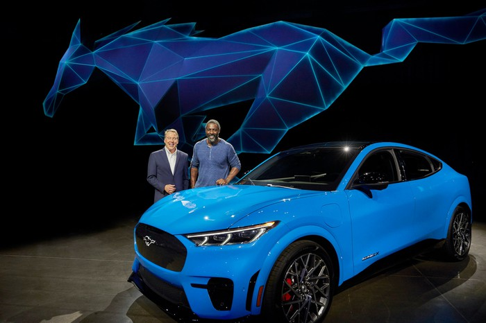 A bright-blue 2021 Ford Mustang Mach-E, a high-performance electric crossover SUV.