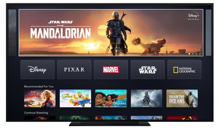 A landing page showing a variety of programming options available on Disney+.