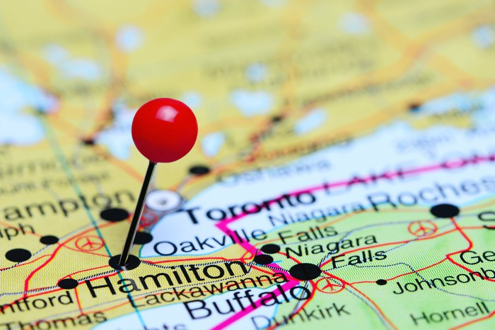 Pin on Hamilton, Ontario, displayed on a map