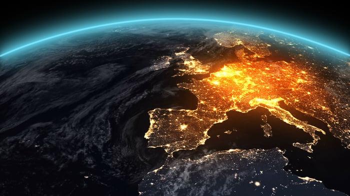 Europe illuminated on a satellite image of the Earth