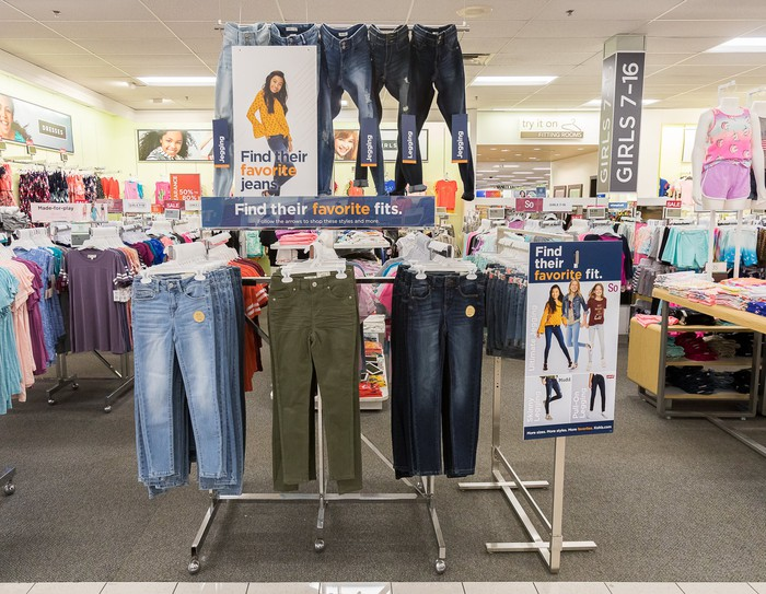 Back-to-school in-store display featuring jeans