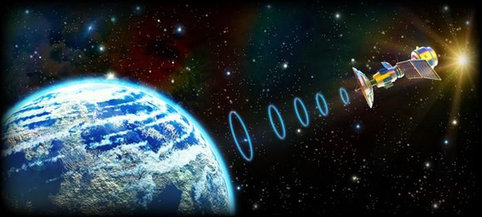 Satellite transmitting to Earth.