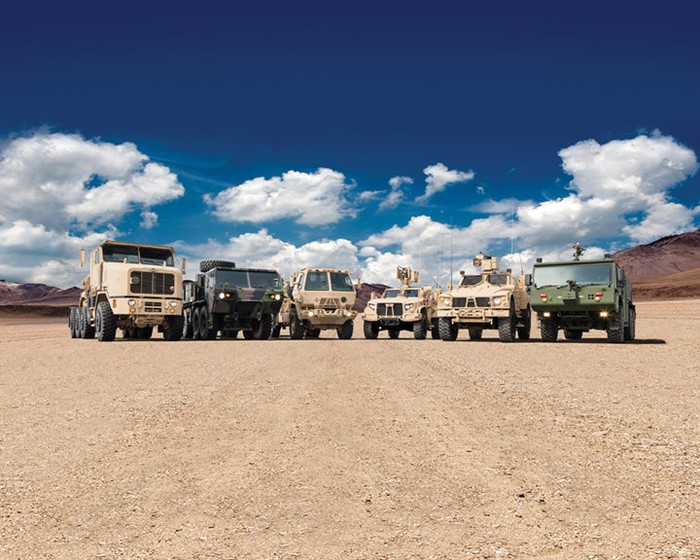 Oshkosh's line of rugged military and firefighting vehicles.
