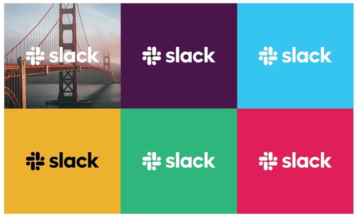Six Slack logos with various color backgrounds, and one with the Golden Gate Bridge.