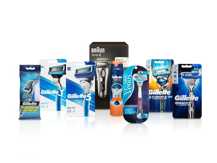 A number of shaving razors and packaging