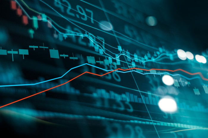 Stock market trend lines heading up.