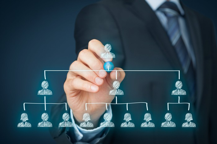 Businessman pointing to the top of an organization chart