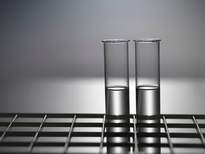 Black and white photo of two test tubes in a rack