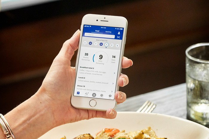 Hand holding phone (over plate of food and drink) with WW app displayed on screen.