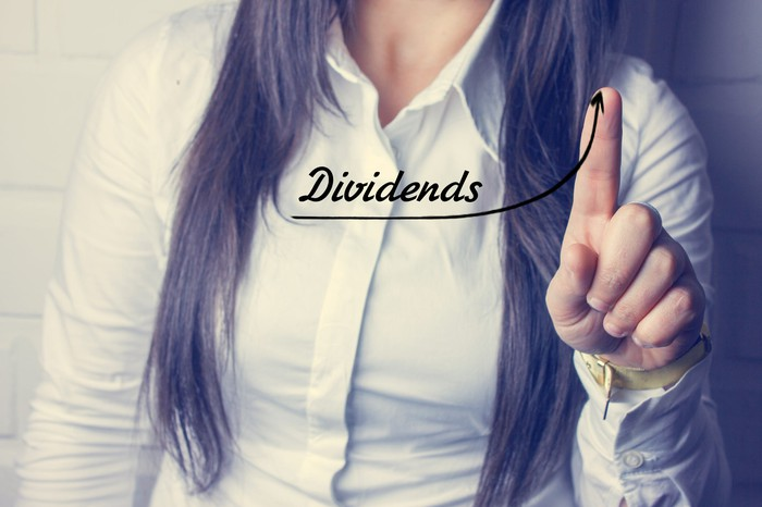 A woman using her finger to show an up trend and word Dividends superimposed in front of her