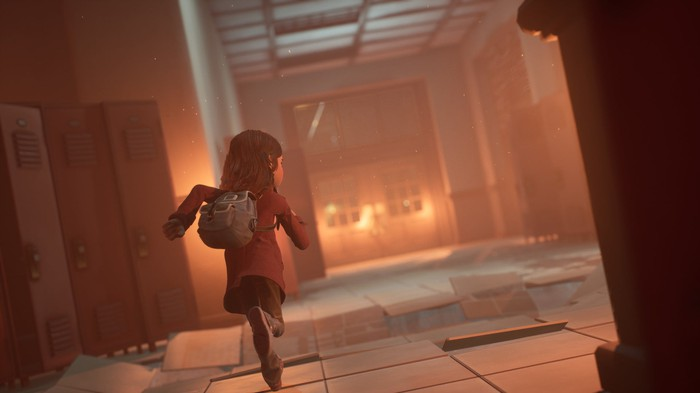 A screenshot showing the main character from Stadia-exclusive 'Gylt' running.