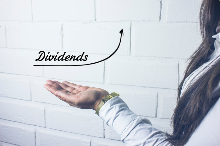 A person holding out their hand with the word dividends written above it.