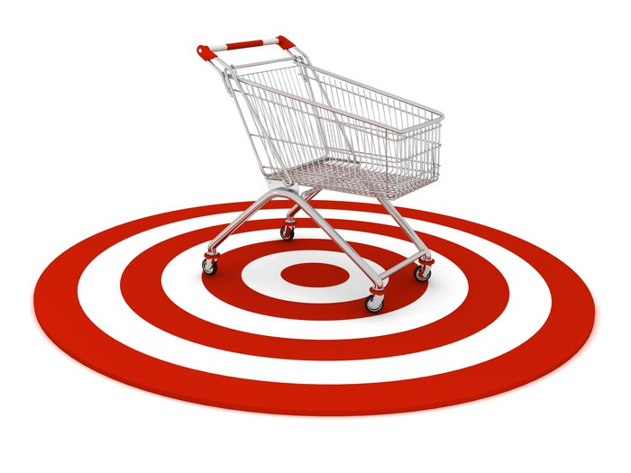 Target symbol with shopping cart on top