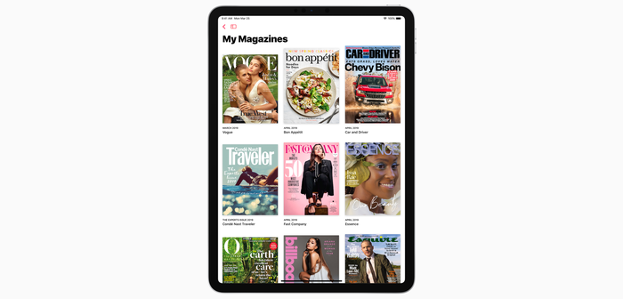 Apple News+ interface displayed on iPad Pro