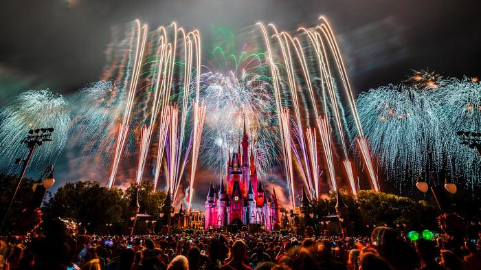 An illustration shows fireworks at Disney World.