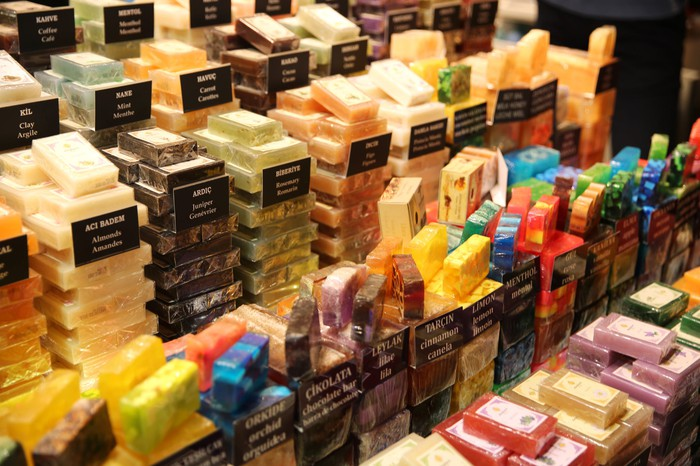 A retail store with a full display of various soaps.