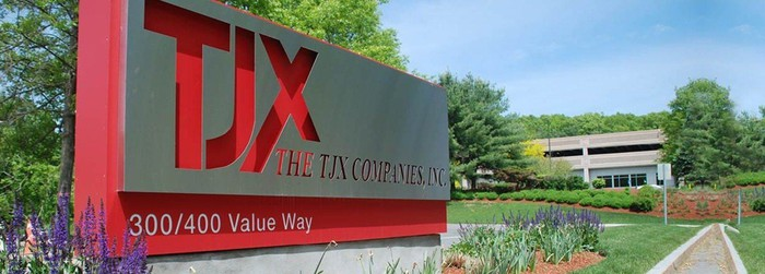 TJX sign in red outside corporate headquarters.