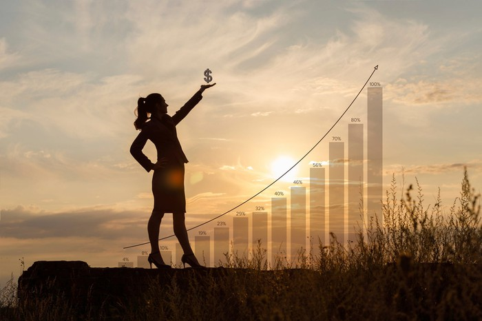 Businesswoman, against a setting sun and chart, holding a dollar sign aloft with her left hand.