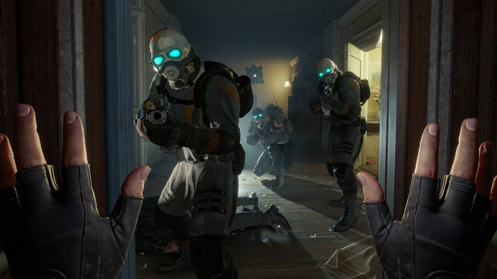 A screenshot from Valve's Half-Life: Alyx featuring the player character holding up her hands being targeted by soldiers holding guns.
