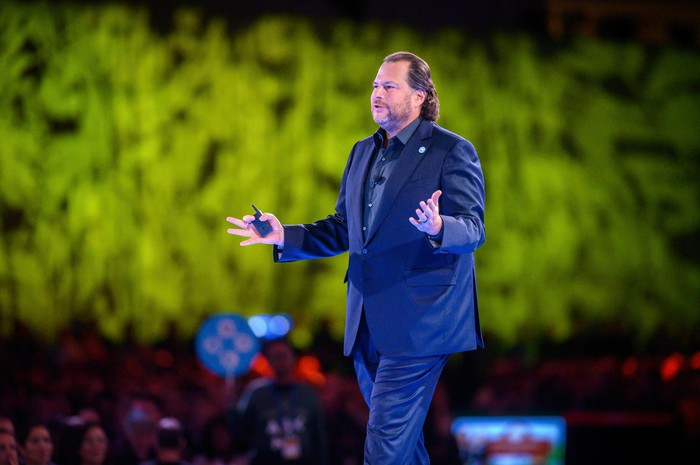 Salesforce co-CEO Marc Benioff on stage at Dreamforce 2019