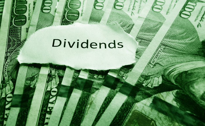 A piece of paper with the word Dividends on it, above a bunch of $100 bills.