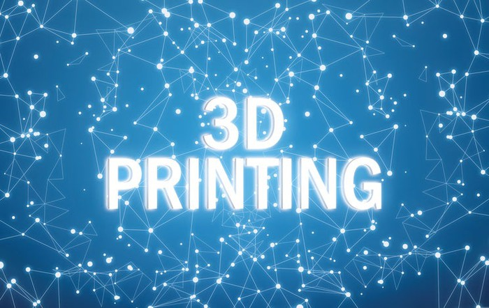 The words 3D Printing written in white letters on a blue-and-white digital background.