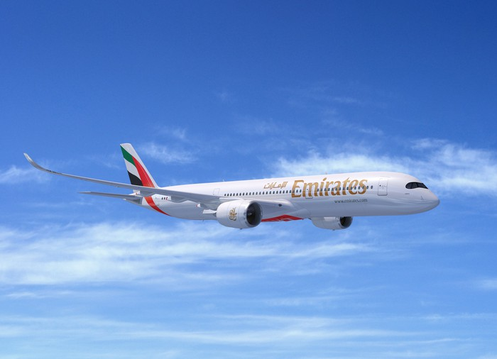 A rendering of an A350-900 in the Emirates livery