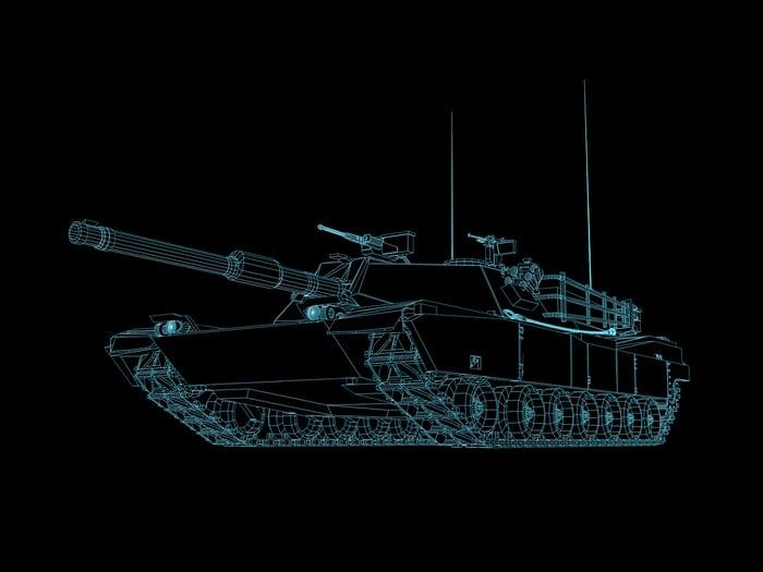3-D CAD rendering of a main battle tank