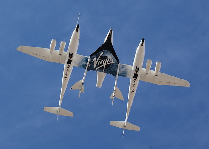 WhiteKnightTwo aircraft carrying SpaceShipTwo spaceplane