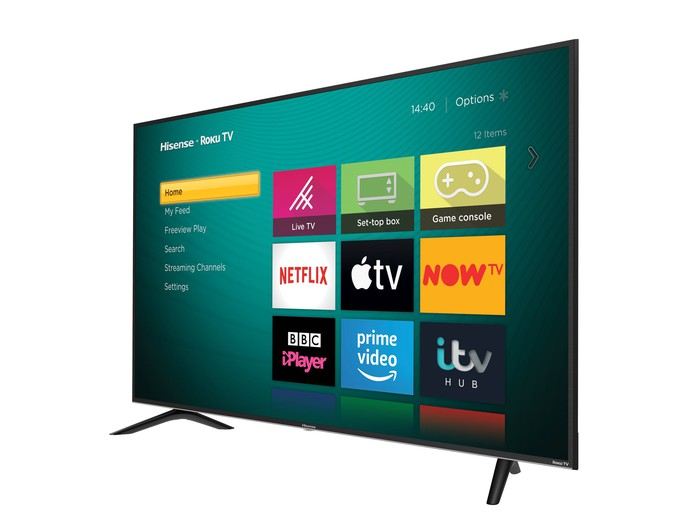 An angled view of the Roku Hisense TV released in the U.K.