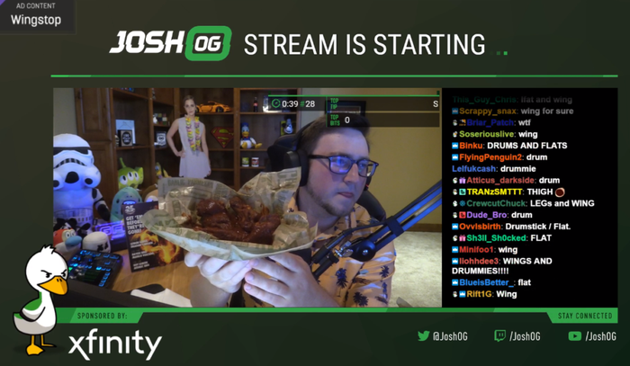 Viewers select which Wingstop wings content creator will eat live on Twitch.