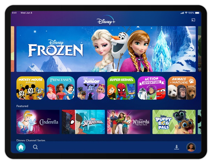 The Disney+ Kids landing page on the app, showing children's programming choices including Frozen