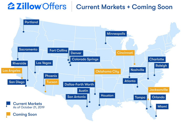 Zillow Offers map of the U.S., with cities highlighted
