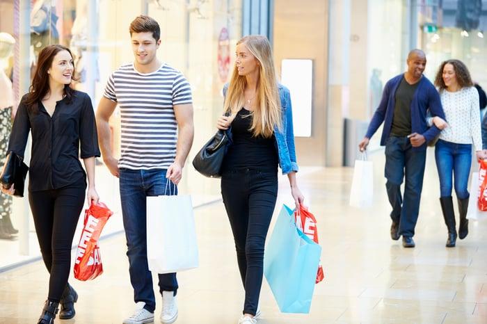 Friends walking in a mall
