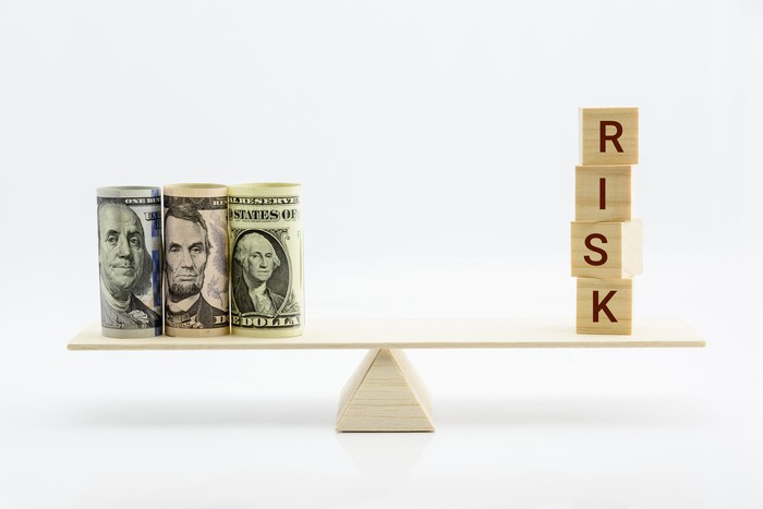 Rolled-up one, five, and hundred dollar bills stand on one side of a fulcrum, with the word risk spelled out in wooden blocks on the opposite side.