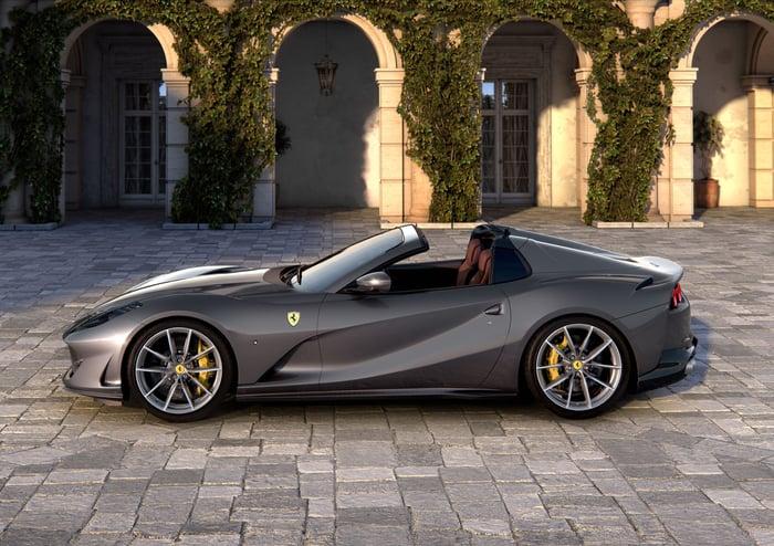 A gray Ferrari convertible parked in a cobblestone driveway.