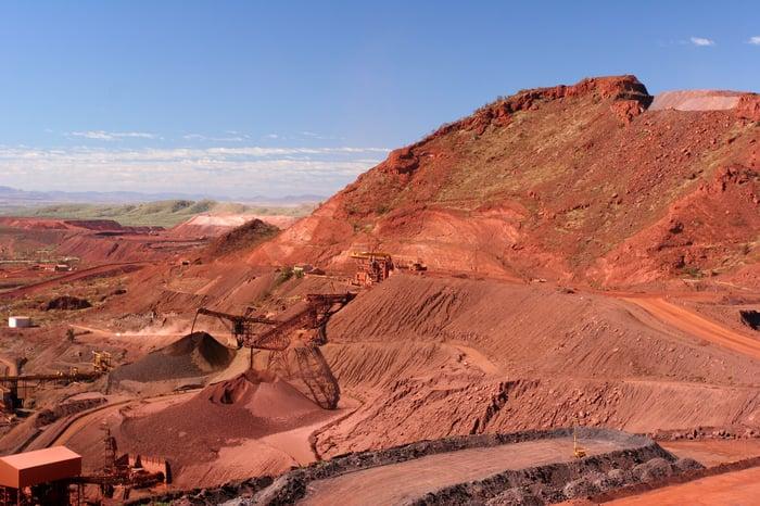An iron ore mine in the Pilbara region of Western Australia.