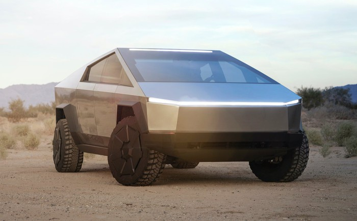 The Tesla Cybertruck, a futuristic stainless-steel-bodied pickup.