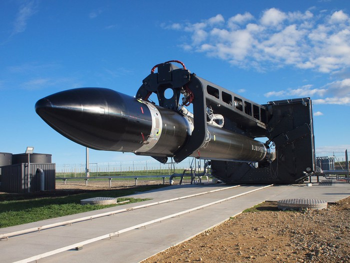 Rocket Lab Electron rocket horizontal en route to launch pad
