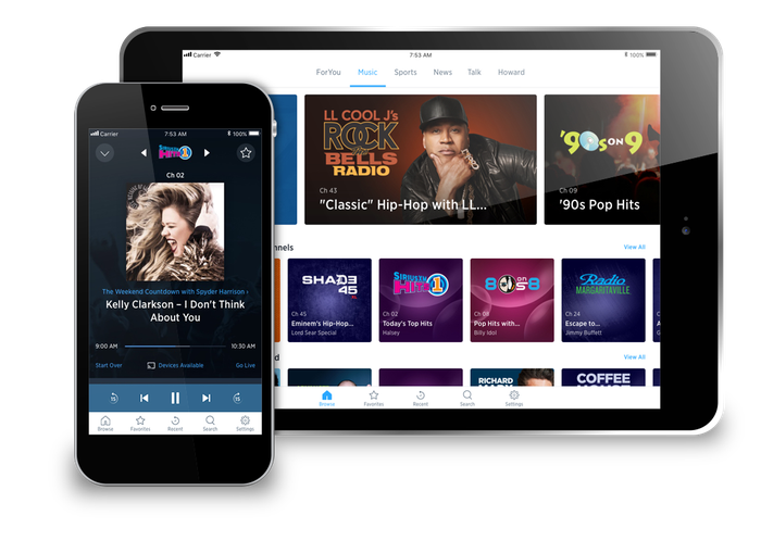 The SiriusXM app running on a smartphone and tablet.