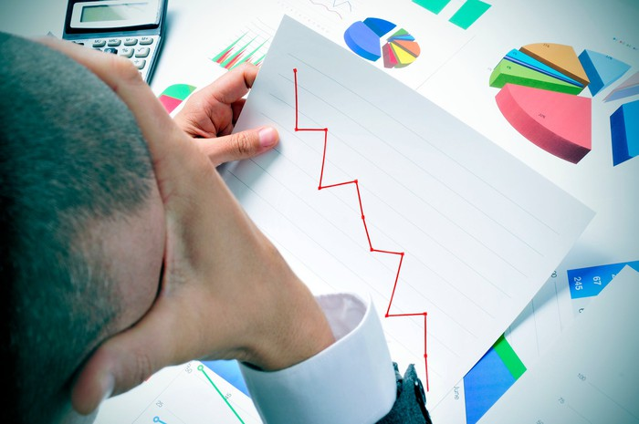Man with hand on head looking at charts with a line chart trending downward.