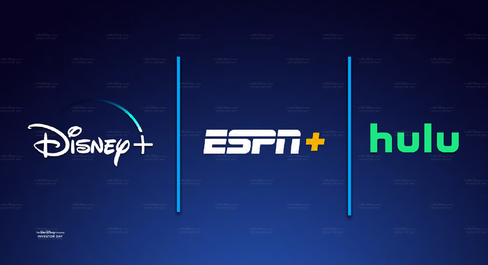 The Disney+, ESPN+, and Hulu logos side by side
