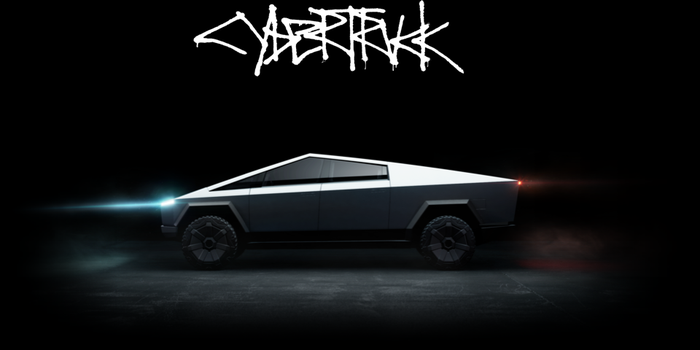 Profile view of the Tesla cybertruck, with the stylized title of cybertruck written out above it.